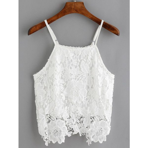 Spaghetti Strap Crochet Cami Top ($11) ❤ liked on Polyvore featuring tops, white, crochet tank, spaghetti strap tank top, white singlet, white camisole and white tank top