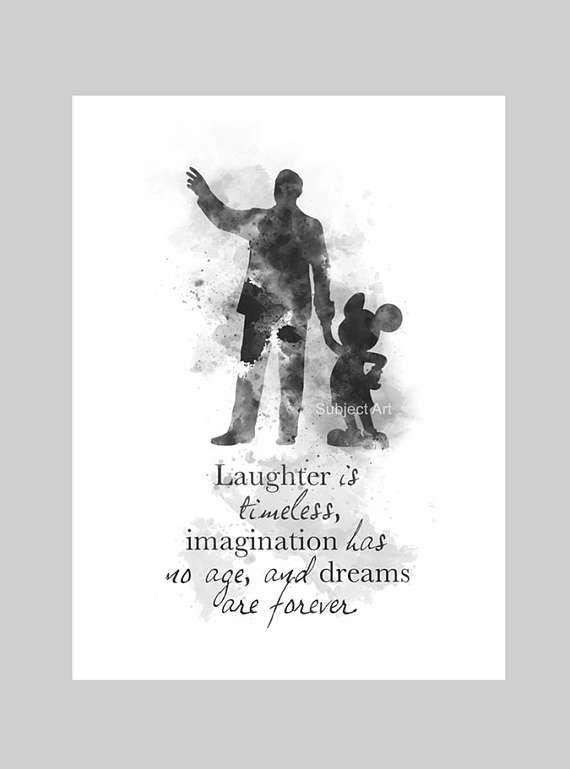 Vente directe de lartiste   Original Art Print Walt Disney Mickey Mouse inspiré devis illustration créée avec des techniques mixtes et un Design contemporain TIRAGE NOIR ET BLANC  «Rire est intemporel, imagination n'a pas d'âge, et les rêves sont pour toujours.»  Giclée de beaux-arts à collectionner Signée et datée au dos  CADRE ET MONTAGE NON INCLUS  Filigrane ne sera pas visible sur votre impression  Collectable oeuvre actuellement en vente dans le monde entier Cadeau idéal  Imprimé sur…