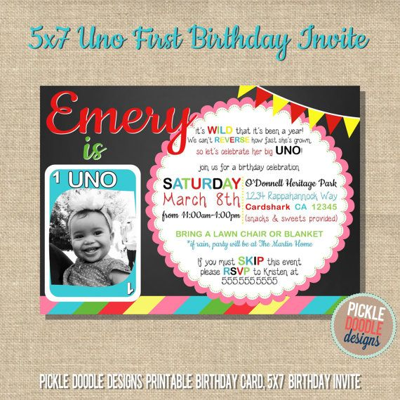 UNO Girl First Birthday Invitation by pickledoodledesigns on Etsy, $16.00