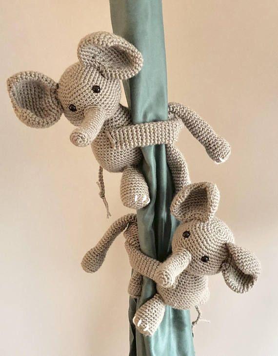 Curtain Tie Backs Crochet Elephant Tiebacks Nursery Curtain Tie