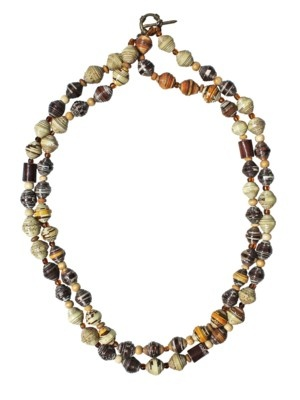 #Eco-friendly  #fairtrade necklaces made from recycled coffee filters and muesli boxes
