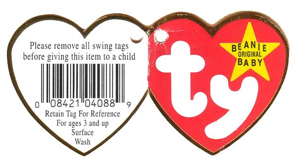 4th Generation Swing Tag - Tags are very important in the world of Beanie Babies. If a Beanie Baby is missing a tag it's value can decrease by up to half.  Beanie Babies have  two types of tag, a swing tag and a tush tag.  This is a great site to keep up with the world of Ty Beanie Babies and it is current!