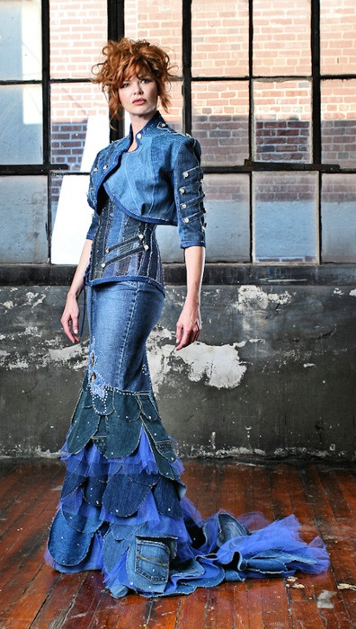 I love the artistry of this, but one of my biggest problems with refashioned clothing is that they are rarely wearable on a daily basis. Many of the refashions you see are either extremely artsy in a couture way, or artsy in a patchwork quilt, great for lounging around in, but no exactly wearable outside of home and certain gatherings.