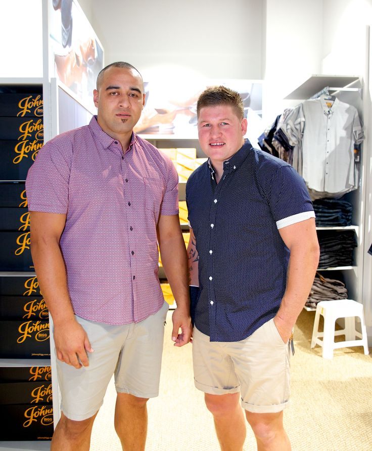 Sam Kasiano and Greg Eastwood trying on some Johnny Bigg items!