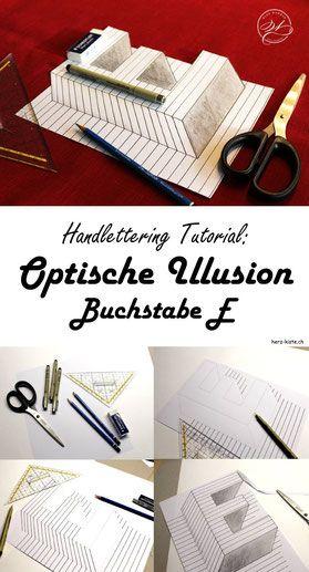 Handlettering mit einem WOW Effekt gestalten! Lerne dank dieser Anleitung wie du eine optische Illusion mit dem Buchstaben E gestalten kannst. Handlettering mit WOW Effekt - ganz einfach gemacht! #Handlettering #Lettering #Tutorial #Anleitung #besserlettern #Illusion #optischeillusion