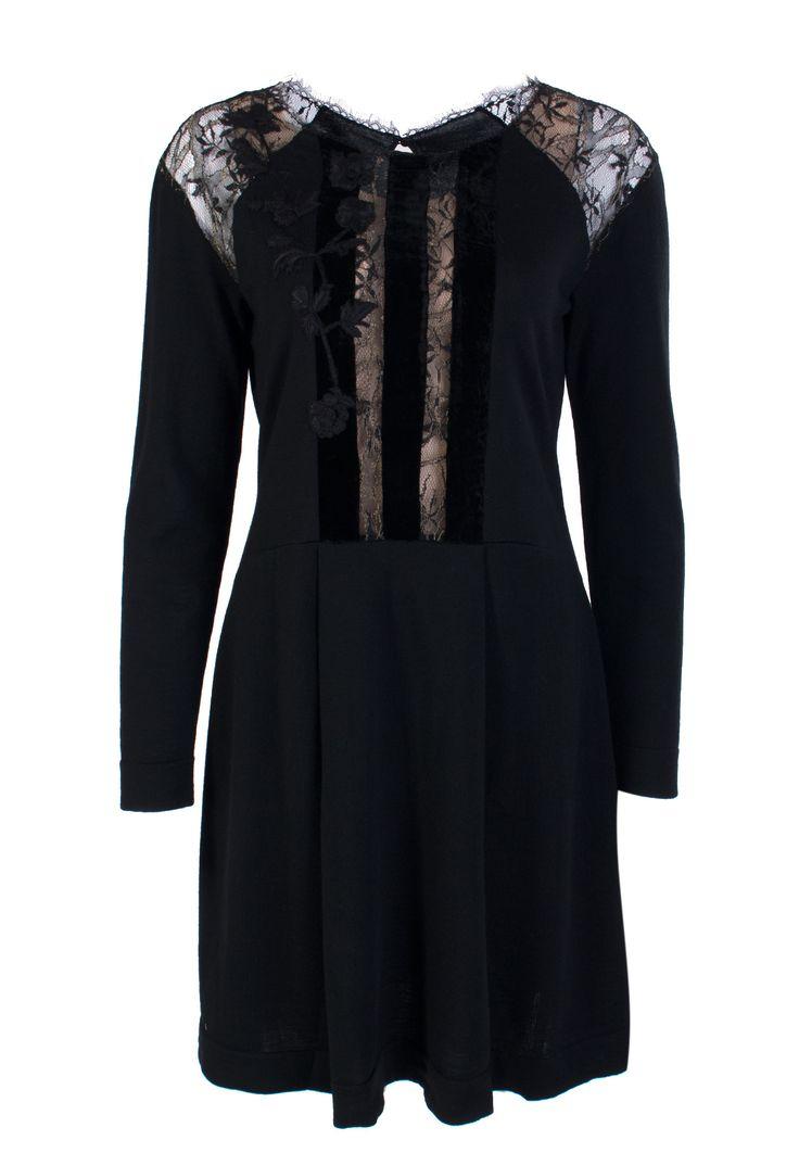 Черное Платье с кружевом и бархатом ALBERTA FERRETTI - заказать по цене 89900 руб., арт. 0484 5100 - ElytS.ru