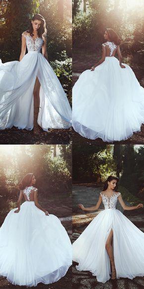 Elegant Lace Appliques Chiffon Long Split Prom Dresses 2019