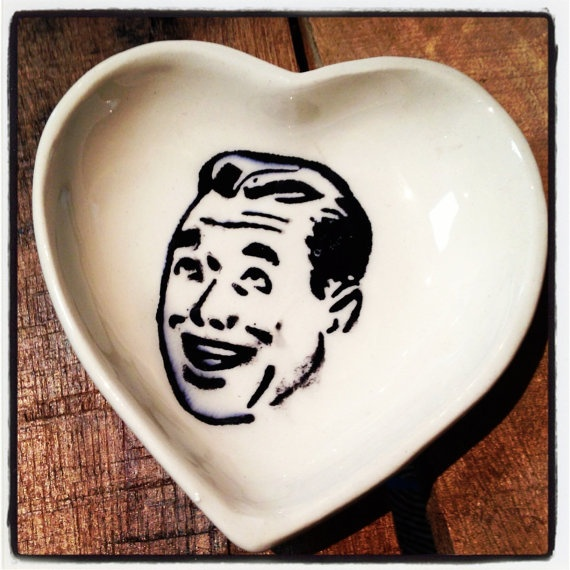 Ceramic Heart dish /vintage clip art transfer/ fun by Mayware, $15.00