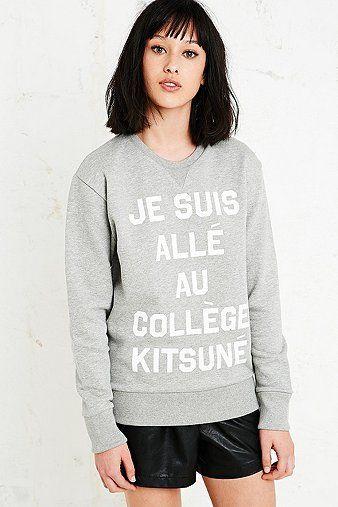 Kitsune College Sweatshirt in Grey