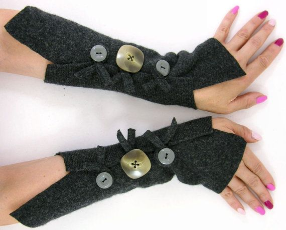 Dark grey fingerless gloves arm warmers charcoal by piabarile, $25.00