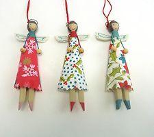 Gisela Graham Christmas Vintage Fairy Peg Dolls Resin & Fabric Tree Decorations