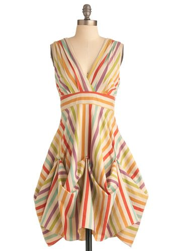 Here in My Carnival Dress by Eva Franco - Multi, Stripes, A-line, Sleeveless, Casual, Vintage Inspired, Multi, Mid-length, Cutout, Pastel, C...