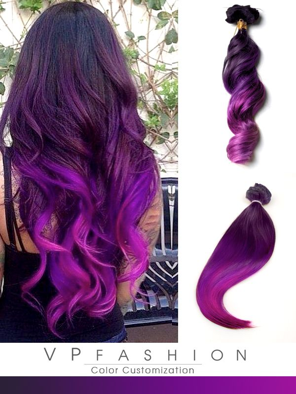 black purple mermaid colorful ombre indian remy clip hair extensions-cs032