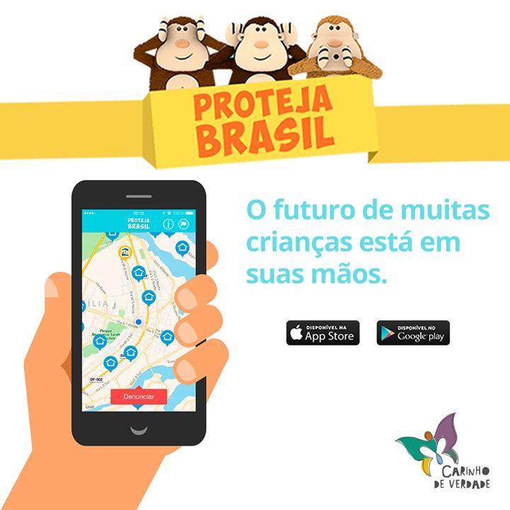 """O Proteja Brasil é um aplicativo para smartphones e tablets criado para facilitar denúncias de violência contra crianças e adolescentes.  É super simples! A partir do local onde você está, o """"Proteja Brasil"""" indica telefones para denúncias e endereços de delegacias, conselhos tutelares e organizações que ajudam a combater a violência contra a infância e adolescência nas principais cidades brasileiras. Baixe agora, é gratuito!  #Disque100 #ProtejaBrasil #EuProtejo"""