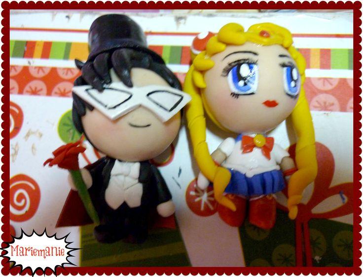Tuxedo Mask & Sailor Moon chibi figure