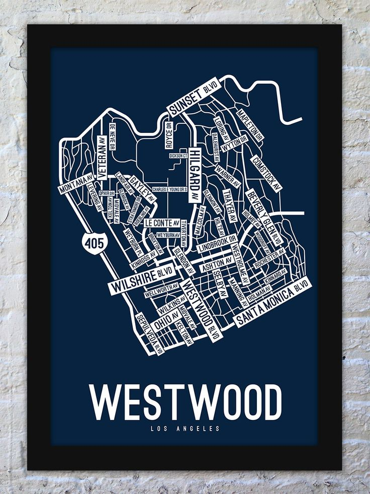 Map Usa Los Angeles%0A Westwood  Los Angeles Street Map Print