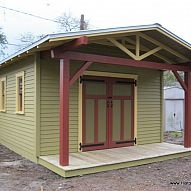 Custom Shed to complement a Craftsman Bungalow... 14' x 14' w/4' deep porch and wood deck