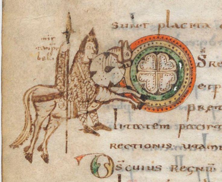 A Carolingian Cavalryman in the 'Gellone Sacramentary', c.790-95, BnF Ms. Lat. 12048, Paris, France
