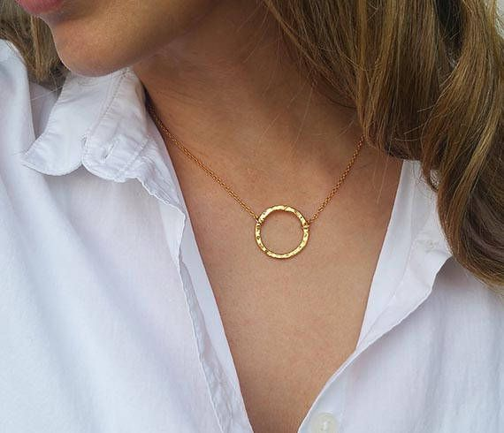 Gold circle necklace - Gold karma necklace, Eternity necklace, Ring pendant, Dainty gold necklace, Mothers gift, Delicate gold jewelry