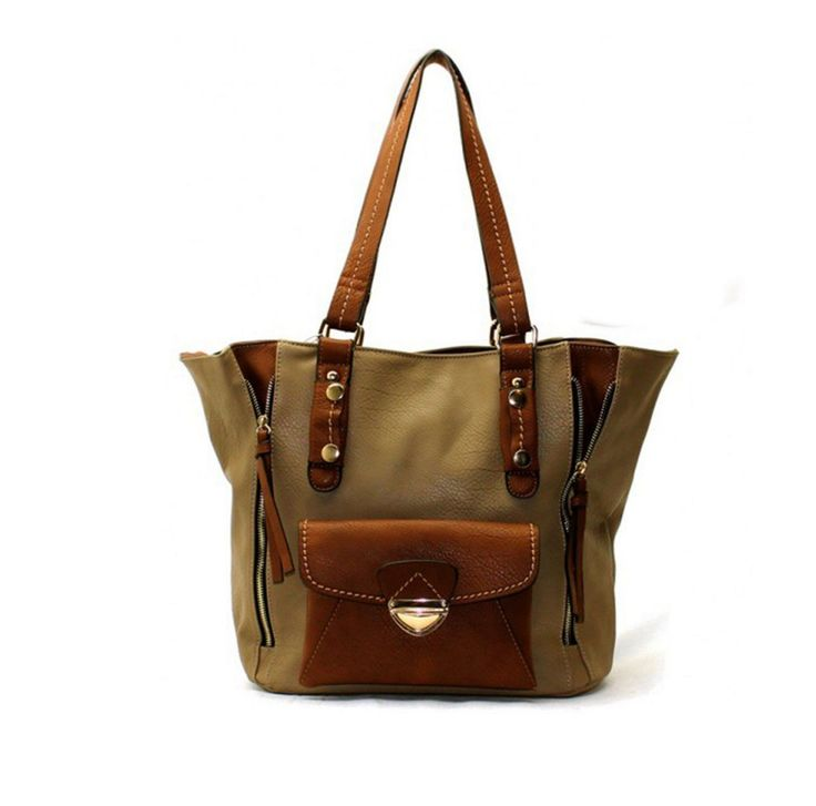 Rachel Hobo Fashion Every Day Free Style Double handle Oversized Tote Purse Handbag-Khaki. POLYURETHANE. ZIP TOP CLOSURE. INSIDE ONE ZIP AND TWO OPEN POCKETS. HANDLES 10 1/2 INCH. H 12 INCH X W 12 INCH X D 6 INCH.