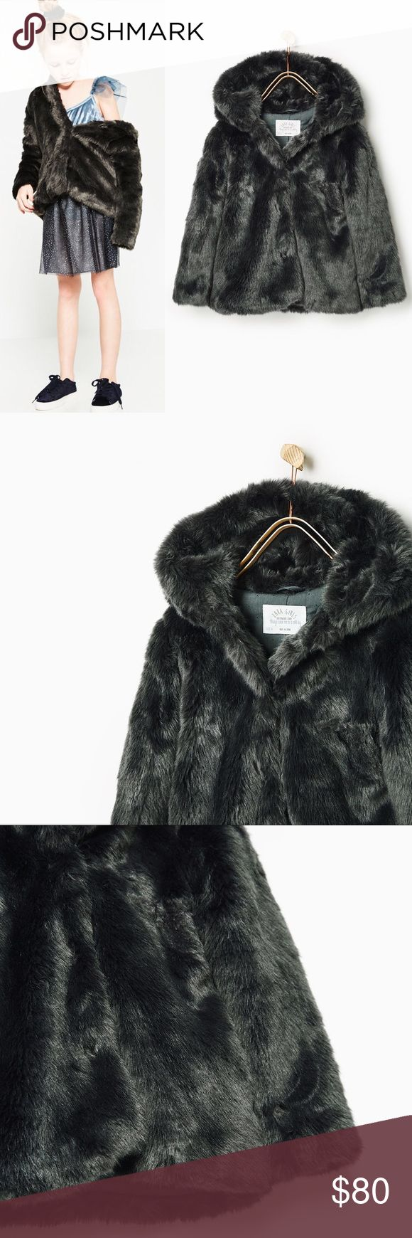 Fur Hooded Coat Zara Girls Hooded three quarter coat with concealed press studs for fastening. Front pockets. Printed lining Zara Jackets & Coats Puffers