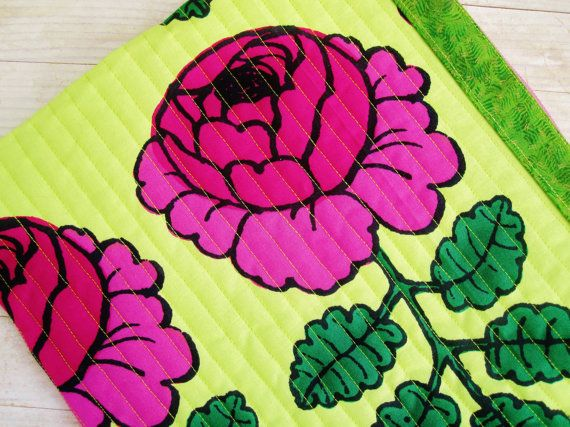 Marimekko pink rose green tablet IPad case laptop bag digital device sleeve cover safe soft pocket quilted padded zipper pouch Mother's gift