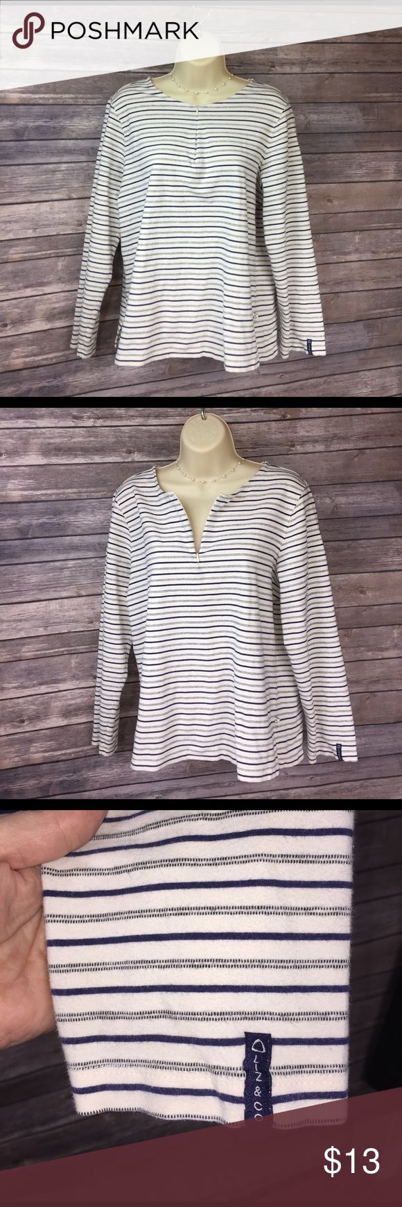 🔶Large Petite Liz   & Co Liz Clairborn Liz Clairborne Petite shirt with zipper.  GUC.    🛍 Bundle 2 or more items and receive a 25% discount automatically!!  🛍 Liz Claiborne Tops
