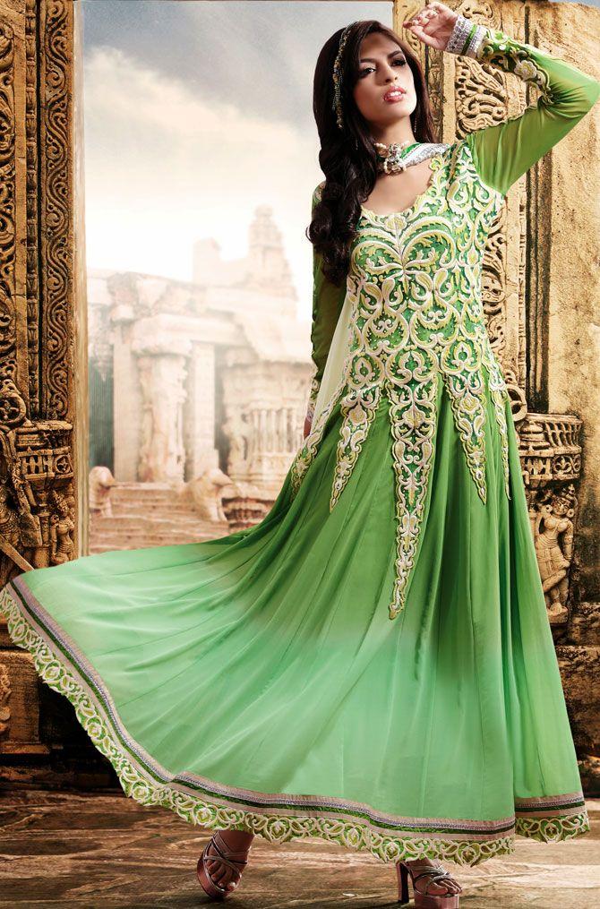#Olive #Green Faux Georgette #Churidar Designer #Suit