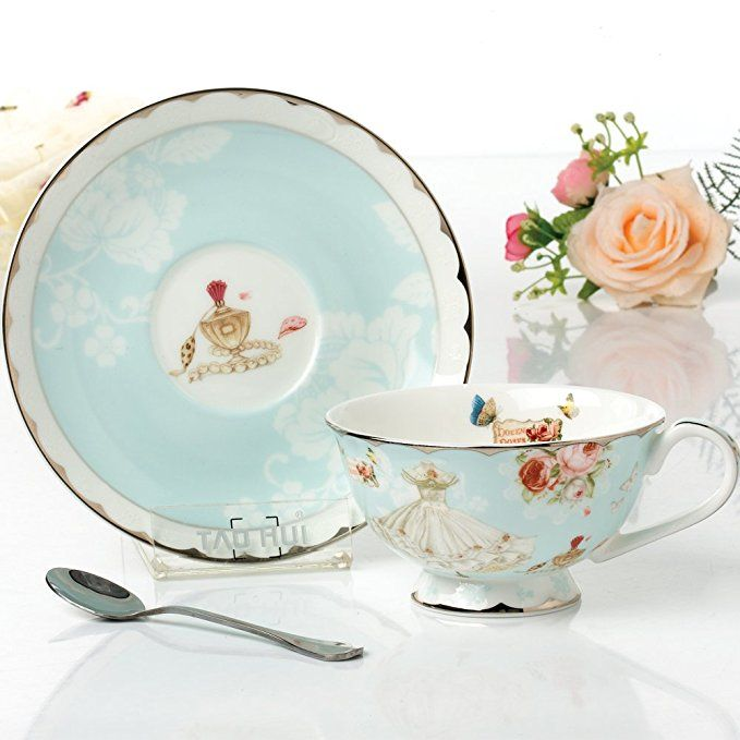 Bone China Coffee Cup and Saucer Set with Spoon Ceramic Coffee Flower Tea Cup