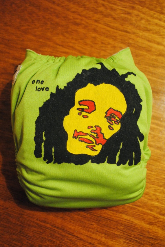 "Bob Marley ""One Love"" One Size Pocket Cloth Diaper on Etsy, $21.00"