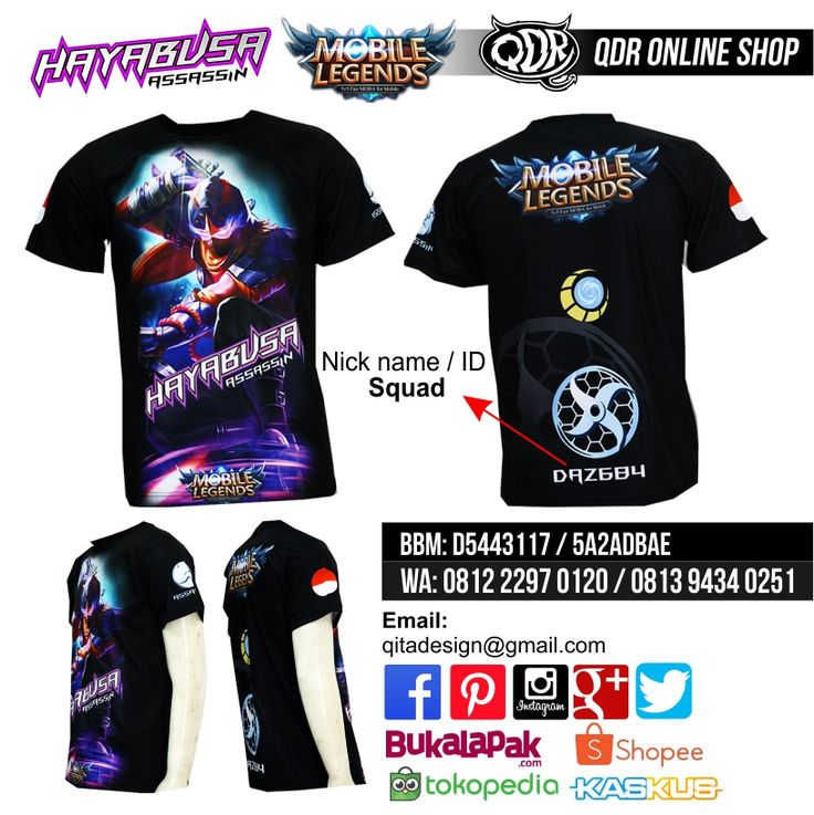 Hayabusa Mobile Legends (Jersey MObile Legends) Bahan: Dry-fit printing: sublimasi untuk pemesanan: BBM D5443117 / 5A2ADBAE (Qdr online shop) WA/LINE 081222970120 / 08129434025