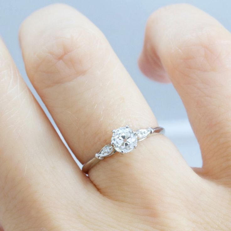 ring pre products wedding cut diamond side vintage diamonds delicate white engagement round set thin prong rings gold