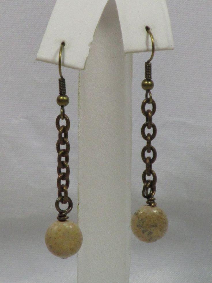 Jasper Earrings Jasper Bead Antiqued Brass Chain Hook Dangle Earrings (AR005L-1) #Handmade #DropDangle