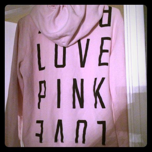 Pink by Vs pink zip up hoodie  This light pink zip up hoodie is super cute and comfy    Size L  PINK by VS PINK Victoria's Secret Tops Sweatshirts & Hoodies