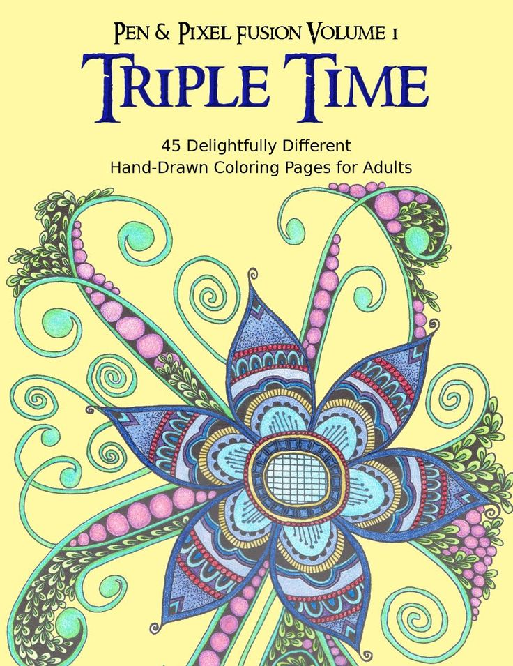 a virtual flip through of triple time the first volume in the pen pixel fusion coloring book series for grown ups