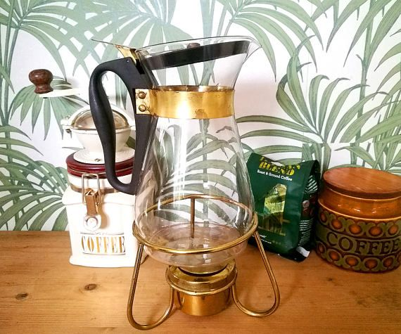 Pyrex Coffee Pot with stand and chafing pot . Pyrex Coffee