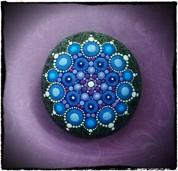 Jewel Drop Mandala Painted Stone- Snowflake
