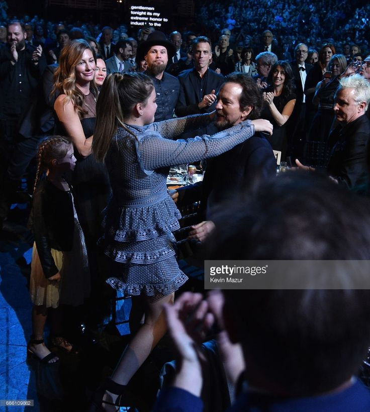 Olivia Vedder and inductee Eddie Vedder of Peal Jam attend 32nd Annual Rock & Roll Hall Of Fame Induction Ceremony at Barclays Center on April 7, 2017 in New York City. The broadcast will air on Saturday, April 29, 2017 at 8:00 PM ET/PT on HBO.