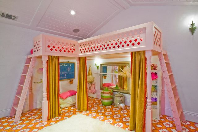 Menlo Park Fantasy Girls' Playroom with Custom Loft Bed - eclectic - kids - san francisco - by Catherine Nguyen Photography