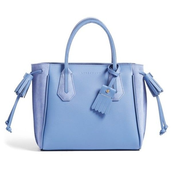 Women's Longchamp 'Small Penelope Fantasie' Leather Tote (1,050 CAD) ❤ liked on Polyvore featuring bags, handbags, tote bags, blue, leather handbag tote, leather totes, blue tote, leather tote purse and blue leather handbags