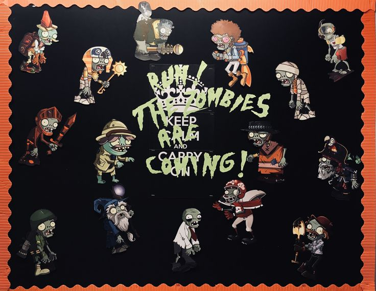 Halloween Bulletin Board: Run the Zombies are Coming (I was inspired by a t-shirt) Plus I think the zombies from Plants Vs Zombies are so FUN!  #halloween; #publiclibrary; #bulletinboard ; #monsters; #zombies; #PlantsVsZombies; #october; #teen; #bulletin; #public