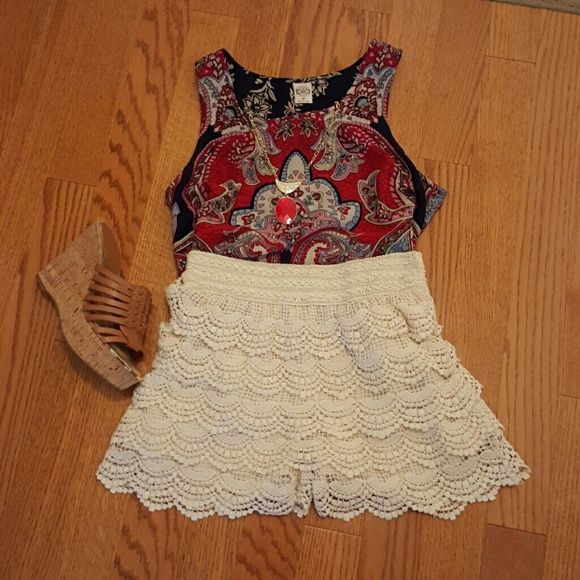 Grace & Emma Cream Lace Shorts These lace shorts are new without tags but have  never been worn. They are stretchy around the top to fit comfortably around your waist. Perfect addition to your closet for Summer! Grace & Emma  Shorts
