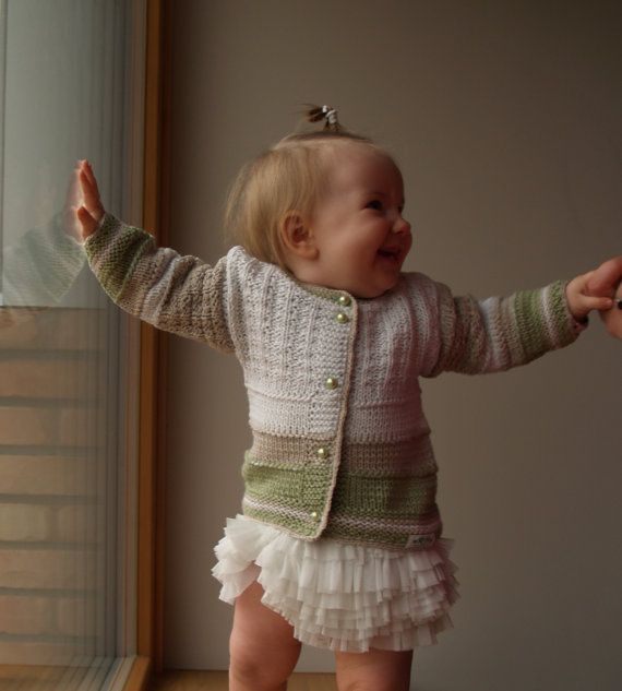 Knit Cardigan for Baby, Merino Wool/ Cotton Jacket  in Natural Colors for baby 6-12 Month, Hand Knitted Sweater on Etsy, £25.76
