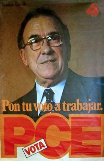 Cartel del PCE para las elecciones generales de 1979. El partido liderado por Santiago Carrillo obtuvo 23 escaños en estos comicios.