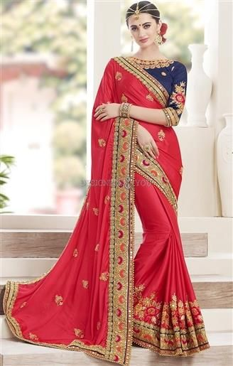 Red Embroidered Contemporary Designer Saree With Boat Neck http://www.designersandyou.com/saree-blouse/designer-sarees #Designersandyou #Wedding #Designer #Designs #Latest #Embroidery #Border #With Price #Lace #Elegant #Forgirls #Online #2017 #Partywear #Fancy #Fancysarees #Indian #Colorcombination #Mirrorwork #Unique #Blouses #Designerblouses #Heavy #Occasional #Classy #Best #Chiffon #Net #Products #Red