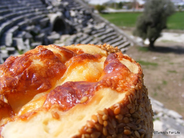 Lunch At Letoon - Melted cheese on simit bread  http://www.turkeysforlife.com/2013/02/turkish-food-bread-bakery-borek.html