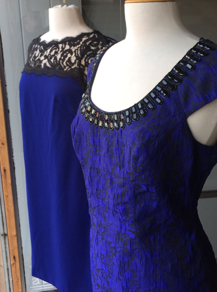 Beautiful holiday dresses in cobalt blue with black lace  Just above the knee flatters any figure. By Adrianna Papell  Find these at Brittany N Bros in downtown Lindsay, Ontario.  Look for brittanynbros on Facebook & Twitter and sign up for our newsletter at http://www.brittanyandbros.com