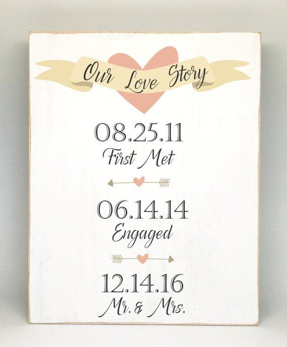 Personalized Wedding Sign -Our Love Story Sign - Unique Personalized Wedding Gift - Engagement Announcement Photo Prop - Bridal Shower Gift