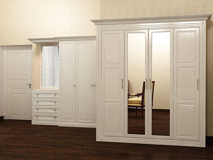 Шкаф Серия Классика 6 эмаль с фрезеровкой, зеркало