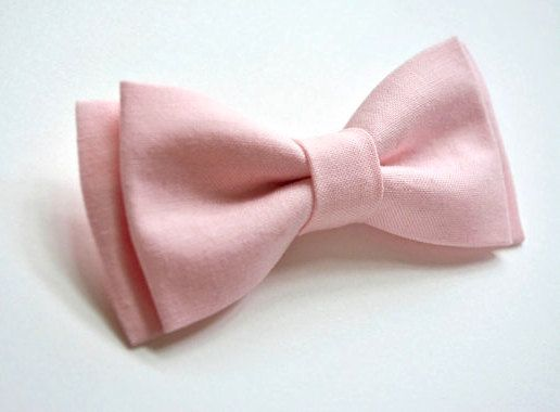 Light pink bow tie for kids.  Handmade out of cotton fabric.    STYLES  Clip on:  using a traditional style metal clip.    With strap:  Newborn,